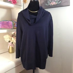 CHAPS   Navy Cowl Neck Sweater Top   3X
